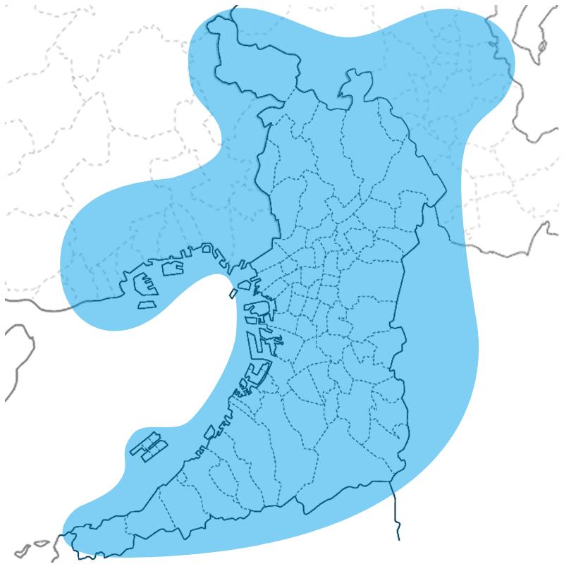 大阪府下の主要地域で対応
